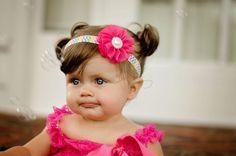 Rainbow Chevron Headband, Hot Pink Headband, Pink Chiffon Flower, Pearl Headband, Girls Headband, Infant Headband, Toddler Headband, Prop