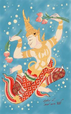 Thai painting Buddhist Architecture, Art And Architecture, Mural Painting, Artist Painting, Traditional Paintings, Traditional Art, Thailand Art, Thangka Painting, Oriental Tattoo