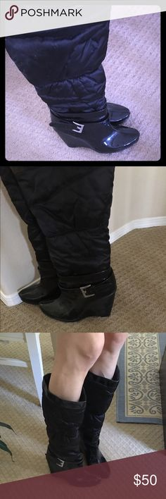 BCBG Generation Wedge Winter Boots Cute and comfy wedge boots. Not sure what the material is but feels water resistant so perfect for snow. Only worn once. About a 2-3 inch heel. Buckles on the side. Slide in and out, no zip. Perfect for jeans in the winter. NO TRADES 😉 BCBGeneration Shoes Heeled Boots