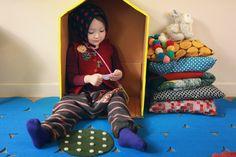textiles and washi tape cardboard house via annika