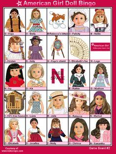 American Girl Doll Printables Free | FREE Printable American Girl Dolls Bingo - Games at Kid Scraps