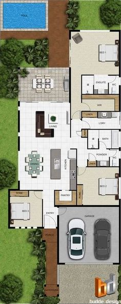 2D colour floor plan for a building company