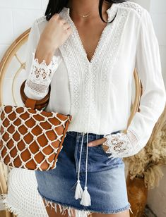 A white long sleeve lace shirt paired with a distressed denim mini skirt is the ultimate getaway look. These separates can easily be mixed and matched making them perfect for packing. Add a tan bamboo handle net tote and your ready for a night out. White Long Sleeve, Long Sleeve Tops, Denim Mini Skirt, Mini Skirts, Casual Tops, Casual Shirt, Passion For Fashion, White Lace, T Shirt