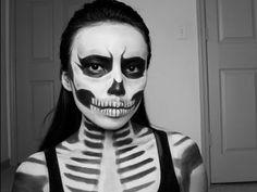Zombie Skull Girl : Last Minute Halloween Look - YouTube