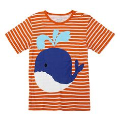 Sale 13% (5.99$) - 2015 New Little Maven Orange Stripe Lovely Whale Baby Children Boy Cotton Short Sleeve