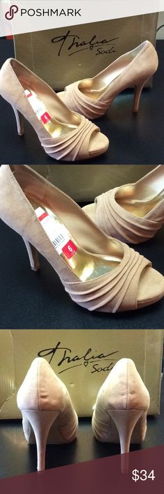 Thalia Sodi Sz. 6 NWT nude heels Nude open toe heel.  Thanks so much for looking.  Please let me know if you have any questions. Reasonable offers are always considered.  Add this item to a bundle and receive a private discount. Thalia Sodi Shoes Heels