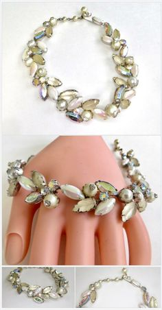 3 strands white and AB beads with gold tone findings chunky Lovely mid century classic perfect for any outfit. vintage necklace