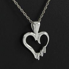 """14K Gold Over Baguette Cut Genuine Natural Diamond Three Stone Heart Pendant w/18""""Chain by JewelryHub on Opensky"""