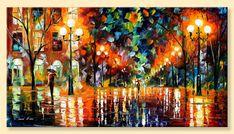 """Das Spektrum des Glücks – Limited Edition Nacht Park Artwork Print auf Leinwand von Leonid Afremov. Größe: 36 """"X 20"""" Zoll (90 cm x 50 cm)"""