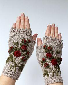 Tricoté des mitaines, Roses, Beige, vêtements et accessoires, gants & mitaines, idées cadeaux, pour elle, accessoires, accessoires d