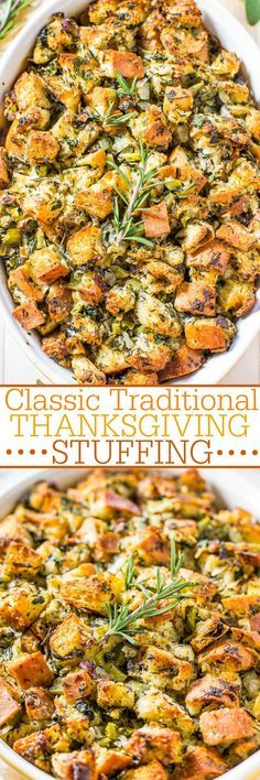 Classic Traditional Thanksgiving Stuffing - Nothing frilly or trendy. Classic, amazing, easy, homemade stuffing that everyone loves! Simple ingredients with stellar results! It'll be your new go-to recipe! Perfect for Thanksgiving. Stuffing Recipes For Thanksgiving, Thanksgiving Sides, Holiday Recipes, Dinner Recipes, Dinner Menu, Turkey Stuffing, Thanksgiving Desserts, Christmas Desserts, Thanksgiving 2017