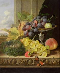 Still life of fruit, a tazza and a bird's nest (19th century)  Edward Ladell: