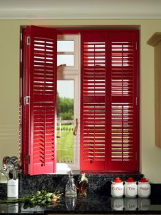 Add some brightness to your kitchen Window Shutters, Wood Blinds, Red Kitchen, Windows, Curtains, Color, Home Decor, Blinds, Shades