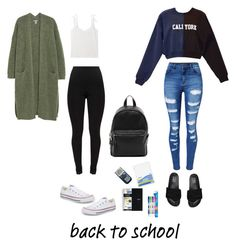 Cute, Comfy, Casual! #backtoschool by syairahsims on Polyvore featuring polyvore, fashion, style, Cynthia Rowley, WithChic, Converse, Puma, French Connection, Mead, Paper Mate and clothing