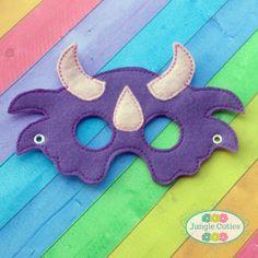 Girl Triceratops Mask Toddler's Mask for Dress-Up, Party Favors Dinosaur Mask, Girl Dinosaur, Dinosaur Birthday Party, Birthday Party Favors, Dinosaur Crafts Kids, Halloween Masks, Girl Halloween, Felt Mask, Toddler Age