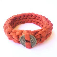 Pulsera de trapillo naranja Pulsera Boho Chic artesanal - MANGALA Bisuteria artesanal