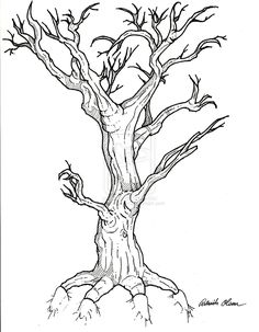 creepn tree tattoo design by patrickolsen traditional art drawings . Scary Drawings, Halloween Drawings, Bird Drawings, Halloween Silhouettes, Halloween Crafts, Tree Tattoo Designs, Tattoo Design Drawings, Best Tattoo Designs, Tattoo Ideas