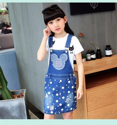 F66080#2017 Latest Fashion Top Design Wholesale Soft Cowboy Girl Decorative White Dots Broken Mickey Suspenders Skirt Supplier - Buy Manufature Cowboy Suspenders Skirt,Girls Sexy Suspender Skirt,Kid Jeans Girl Product on Alibaba.com Girls Denim Dress, Girls Jeans, Jeans Dress, Fashion Top, Latest Fashion, Disney Drawings Sketches, Cowboy Girl, Suspender Skirt, Erika