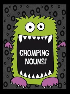 This fun freebie makes learning nouns much easier than petting a hungry monster! Quick and easy min-lessons make it easy for teachers too! ....Follow for Free 'too-neat-not-to-keep' literacy tools  other fun teaching stuff :)
