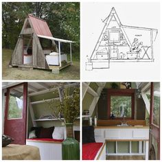 Extreme tiny house living: Created by two tiny home experts Derek Diedricksen and Joe Everson, the Transforming A-Frame is only 80 sqf (can be expanded to 110 sqf), and has daybeds with storage, a kitchen wall, and a sunroof that offers ventilation. (Source: relaxshacks.blogspot.com)