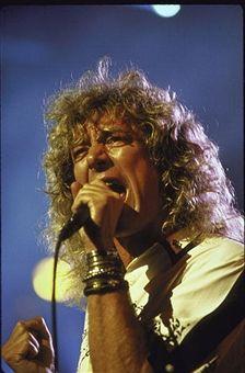 Rock singer Robert Plant singing at Atlantic Records 40th Anniversary Concert at Madison Square Garden.