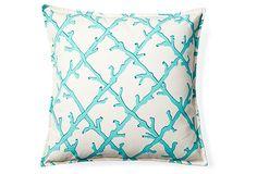 Coral Lattice 20x20 Pillow, Turquoise on OneKingsLane.com - EcoAccents