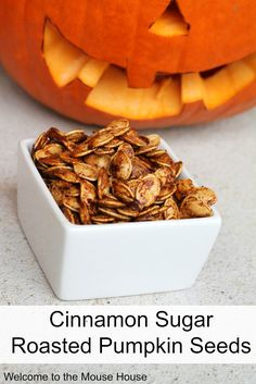 Yum, right? Quick and easy recipe for delicious roasted pumpkin seeds, sweetened with cinnamon and sugar! Cinnamon and Sugar Roasted Pumpkin Seeds *1 cup pumpkin seeds * 1 tablespoon melted butter (or other type of oil) *1 tablespoon sugar *3/4 teaspoon cinnamon *1/4 teaspoon nutmeg *dash of salt 1. Toss seeds with above ingredients. 2. …