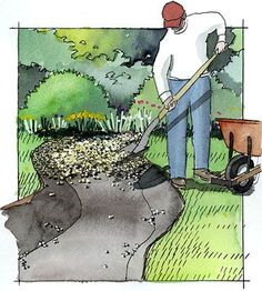 Update Your Garden with this DIY Dry Creek Bed STEP 3 Cover the bottom and the sloping sides of the stream bed with inch of crushed pea gravel. The sharp edges of the gravel will keep it from migrating when it rains or when someone walks on it Backyard Projects, Outdoor Projects, Garden Projects, Rain Garden, Lawn And Garden, Garden Beds, Dry Garden, Vegetable Garden, Stream Bed