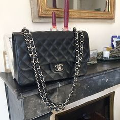 a1afe438f27c Favorite bag classic  Chanel flap timeless jumbo black caviar SHW silver  hardware by yasmin dxb instagram