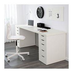 LINNMON / ALEX Pöytä IKEA Pitkän pöydän ääreen saa helposti työtilaa kahdelle. Valmiiksi poratut reiät helpottavat jalkojen kiinnittämistä.