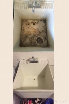 Bar Keepers Friend cleans up an old utility sink.