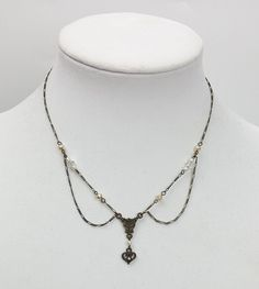 Robert Rose necklace Victorian Revival bronze with heart dangle faux pearls #RobertRose #Ydrop