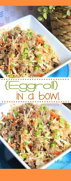 Eggroll In A Bowl- This Eggroll in a Bowl recipe has all the flavors of a traditional egg roll, cooked in a skillet, without the fried wrapper! The low carb way to enjoy your favorite Chinese takeout food! Egg Recipes For Dinner, Egg Roll Recipes, Paleo Recipes Low Carb, Healthy Snack Recipes For Weightloss, Carb Free Foods, Tai Food Recipes, Super Food Recipes, Chinese Food Recipes, Carb Free Meals