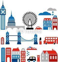 Vector silhouettes of London landmarks - European cities series