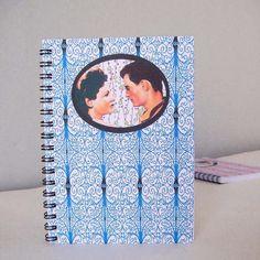 carnet, spirale, A 6, papier japonais, art déco, romantique, rétro. Miska créations.