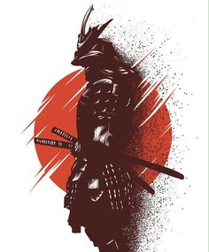 Samurai holding on to sheathed weapons with a Japanese rising sun in the background. Ninja Kunst, Arte Ninja, Ninja Art, Japanese Artwork, Japanese Tattoo Art, Japanese Warrior Tattoo, Japanese Art Samurai, Japanese Dragon, Samurai Tattoo