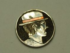 John Demarco - Hobo Nickel with Copper Inlay Hobo Nickel, Buffalo, Coins, Copper, Carving, Rooms, Wood Carvings, Sculptures, Brass