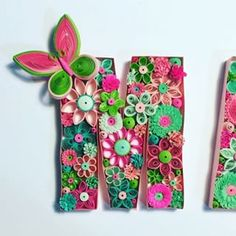 Quilling Flowers, Paper Quilling, Quilling Ideas, Quilling Letters, Letters And Numbers, Diy And Crafts, Paper Crafts, Paper Cutting, Floral Tie