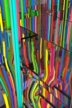 The newly remodeled Louis Vuitton store on Ave. in NY has the most wonderful window display of colored neon lights. This effect is from mirrors in the display. Neon Colors, Rainbow Colors, All The Colors, Light Colors, Neon Rainbow, Taste The Rainbow, Over The Rainbow, Neon Glow, Light Installation