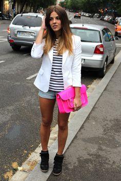 FUN look.. white blazer, stripes, denim shorts.. Idk about the shoe though