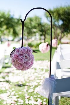 i like the shepard hook. any my mama will like it in her yard after the wedding. Shepard Hooks Wedding, Hi Low Wedding Dress, Wedding Isles, Diy Wedding Decorations, Pew Decorations, Aisle Flowers, Orange Wedding, Flower Backdrop, Wedding Chairs