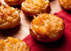 Pineapple coconut tartlets in muffin pan