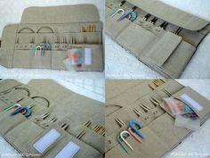 Interchangeable Knitting Needle Case Holder roll by AtelierDeSoyun