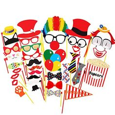 COOLOO Circus Photo Booth Props For Carnival Party,Weddin…