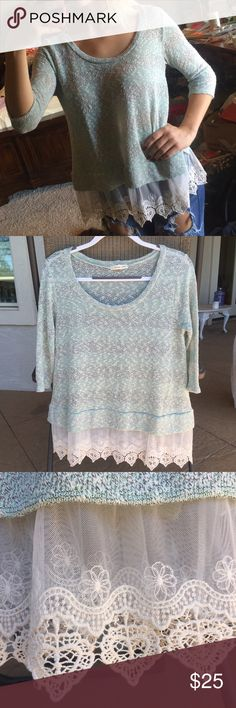 Adorable Lacy Blue Pepper Top Worn a few times, but in perfect condition!💖 Urban Outfitters Tops Blouses