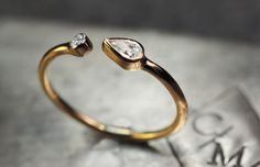 Pear Shaped Diamond Open Cuff Ring in 14K by ChincharMaloney. $780 is not bad for diamonds, right?