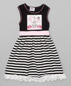 Take a look at this Black Eiffel Tower Ruffle A-Line Dress - Toddler & Girls today!