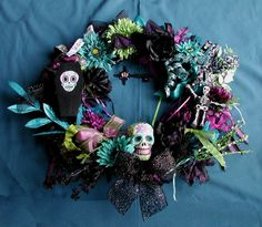 Day of the Dead Sugar Skull Wreath Made to Order. $73.00, via Etsy.