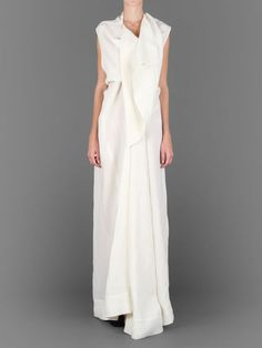 Rick Owens twisted silk wedding dress with draped front and shawl collar #rickowens