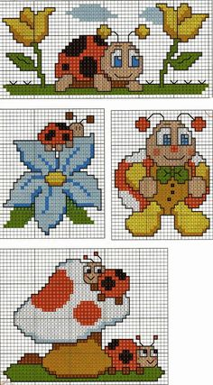 Coccinelle baby a punto croce Cross Stitch For Kids, Cross Stitch Baby, Cross Stitch Animals, Cross Stitch Charts, Cross Stitch Designs, Cross Stitch Patterns, Loom Patterns, Cross Stitching, Cross Stitch Embroidery